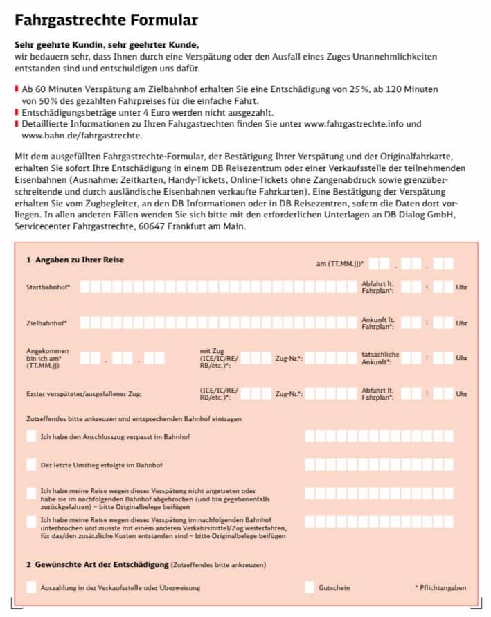 ドイツ鉄道で遅延した際の返金用紙 1