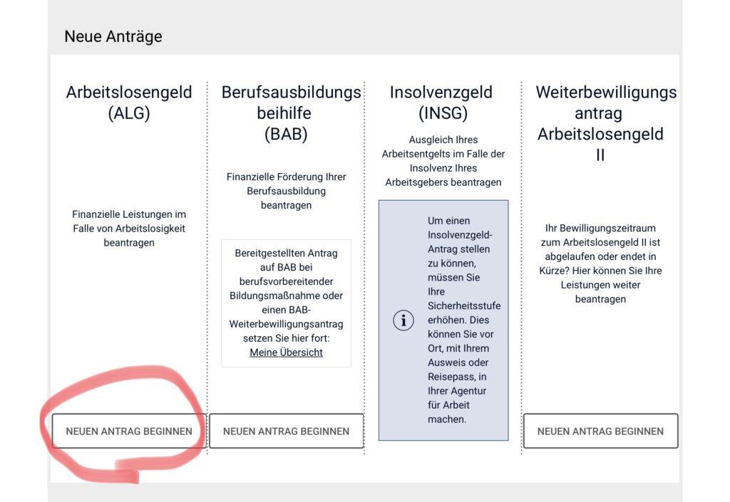 ドイツの失業保険の申請画面 1