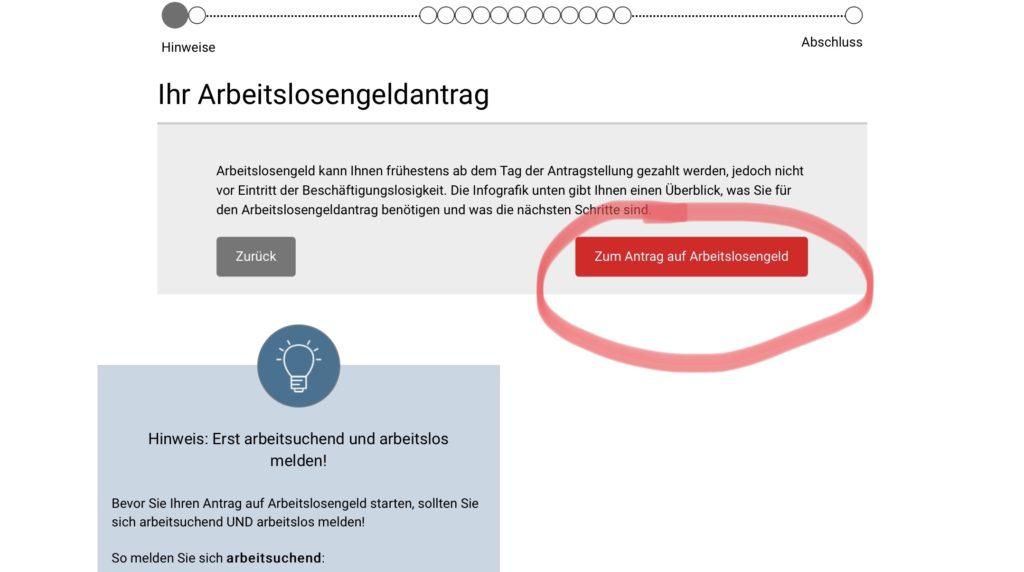 ドイツでの失業保険の申請画面 2